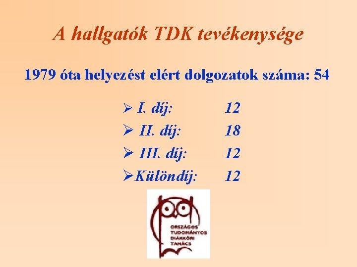 A hallgatók TDK tevékenysége 1979 óta helyezést elért dolgozatok száma: 54 Ø I. díj: