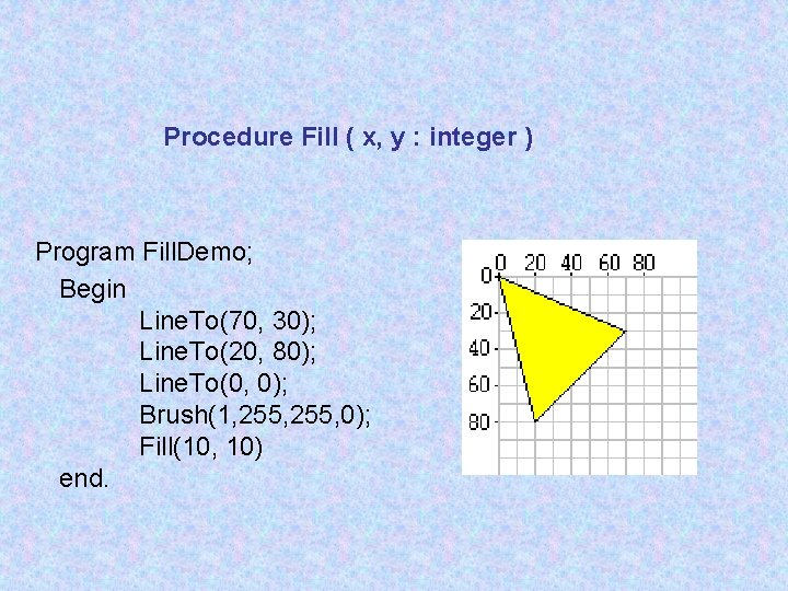 Procedure Fill ( x, y : integer ) Program Fill. Demo; Begin Line. To(70,