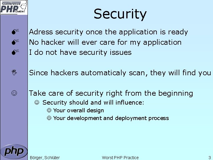 Security M M M Adress security once the application is ready No hacker will