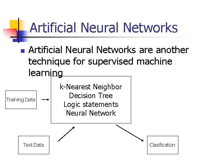 Artificial Neural Networks n Artificial Neural Networks are another technique for supervised machine learning