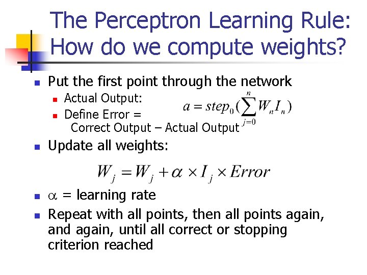 The Perceptron Learning Rule: How do we compute weights? n Put the first point