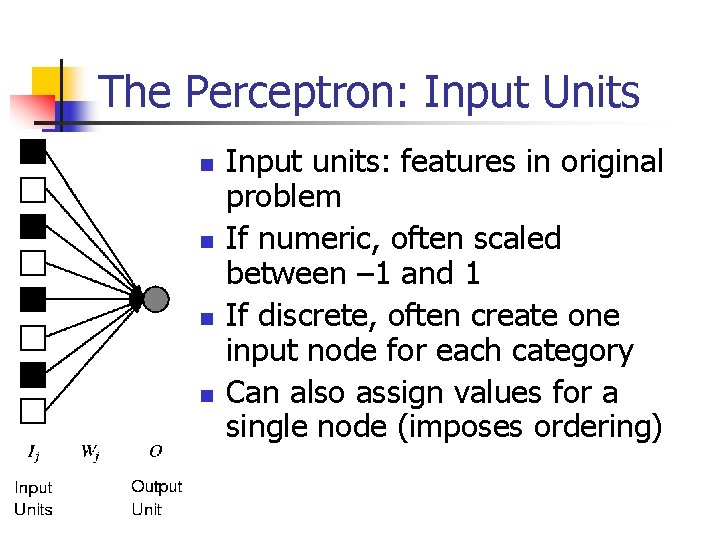 The Perceptron: Input Units n n Input units: features in original problem If numeric,