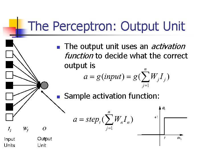 The Perceptron: Output Unit n n The output unit uses an activation function to