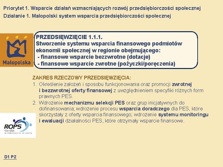 Priorytet 1. Wsparcie działań wzmacniających rozwój przedsiębiorczości społecznej Działanie 1. Małopolski system wsparcia przedsiębiorczości