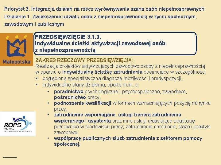 Priorytet 3. Integracja działań na rzecz wyrównywania szans osób niepełnosprawnych Działanie 1. Zwiększenie udziału