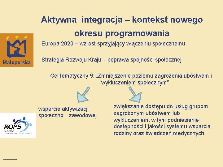 Aktywna integracja – kontekst nowego okresu programowania Europa 2020 – wzrost sprzyjający włączeniu społecznemu
