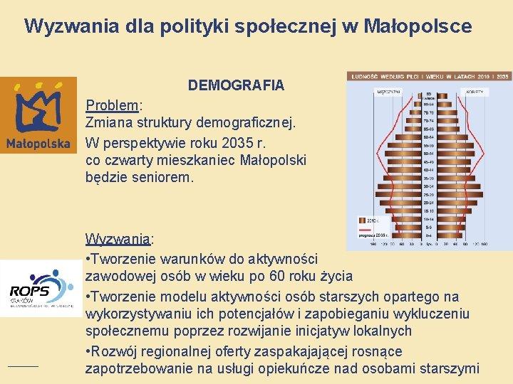 Wyzwania dla polityki społecznej w Małopolsce DEMOGRAFIA Problem: Zmiana struktury demograficznej. W perspektywie roku