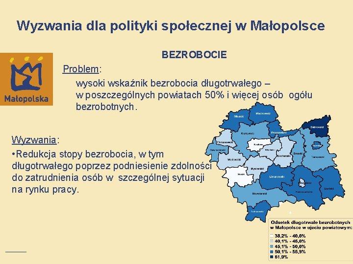 Wyzwania dla polityki społecznej w Małopolsce BEZROBOCIE Problem: wysoki wskaźnik bezrobocia długotrwałego – w