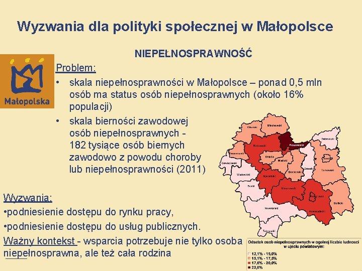 Wyzwania dla polityki społecznej w Małopolsce NIEPEŁNOSPRAWNOŚĆ Problem: • skala niepełnosprawności w Małopolsce –