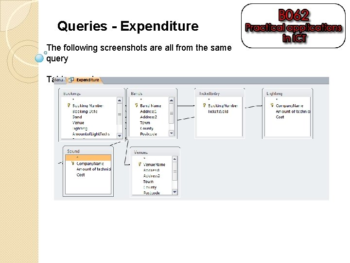 Queries - Expenditure The following screenshots are all from the same query Tables used: