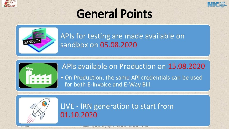 General Points APIs for testing are made available on sandbox on 05. 08. 2020