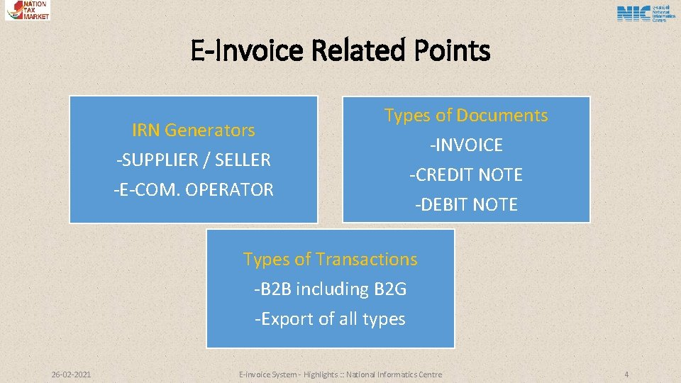 E-Invoice Related Points IRN Generators -SUPPLIER / SELLER Types of Documents -E-COM. OPERATOR -INVOICE