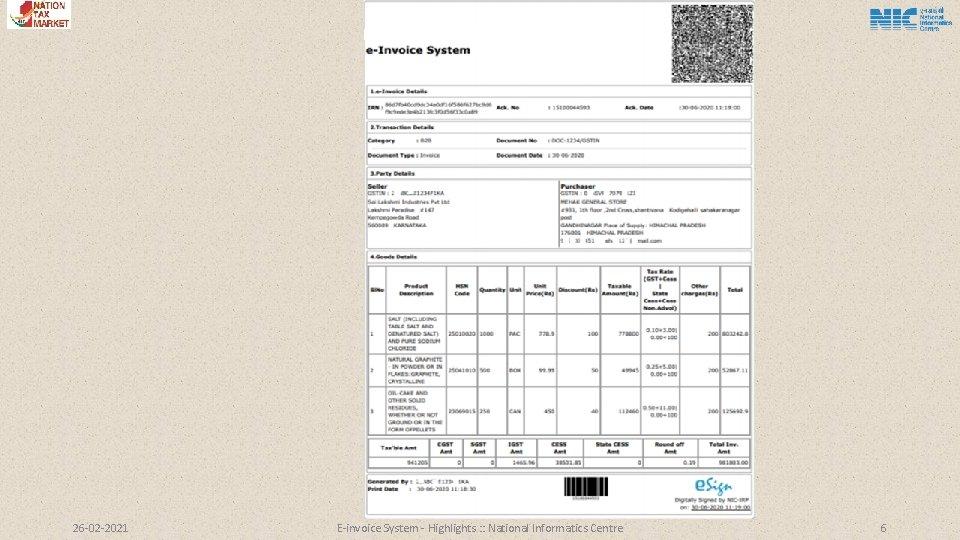 26 -02 -2021 E-invoice System - Highlights : : National Informatics Centre 6