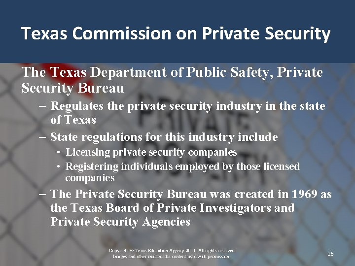 Texas Commission on Private Security The Texas Department of Public Safety, Private Security Bureau