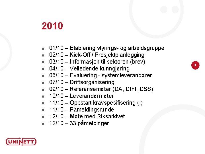 2010 n n n 01/10 – Etablering styrings- og arbeidsgruppe 02/10 – Kick-Off /