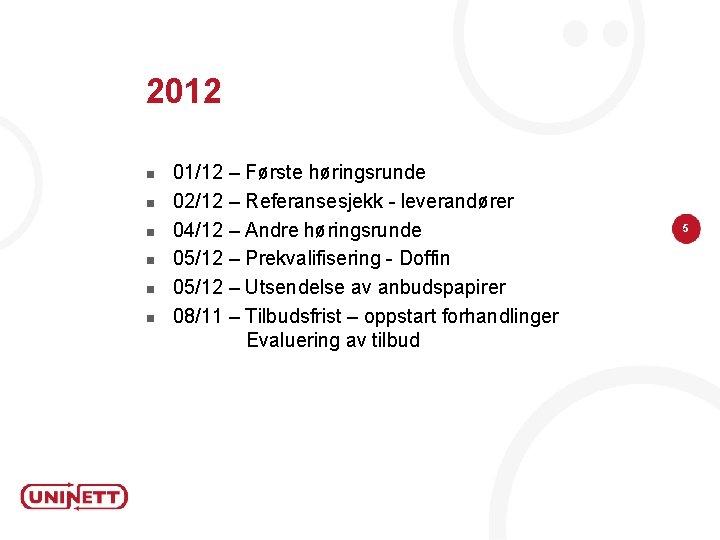 2012 n n n 01/12 – Første høringsrunde 02/12 – Referansesjekk - leverandører 04/12