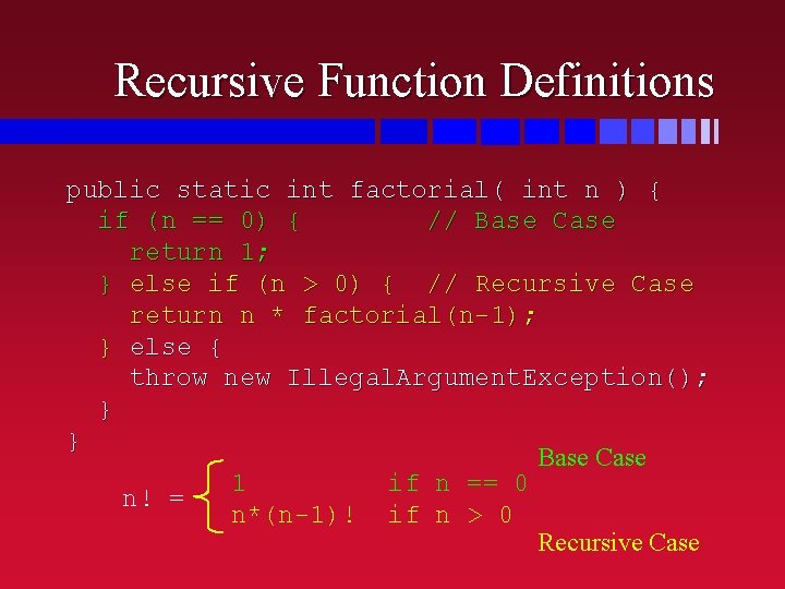 Recursive Function Definitions public static int factorial( int n ) { if (n ==