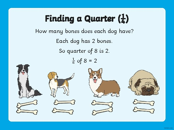 Finding a Quarter (¼) How many bones does each dog have? Each dog has
