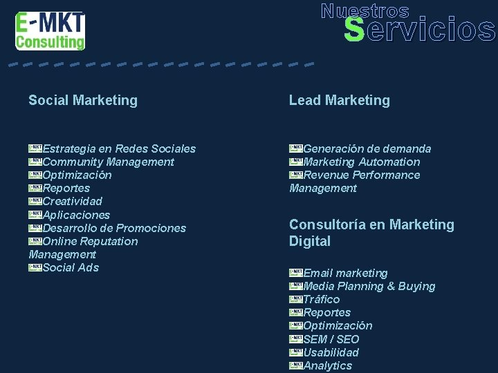 Nuestros ---------- Servicios Social Marketing Lead Marketing Estrategia en Redes Sociales Community Management Optimización