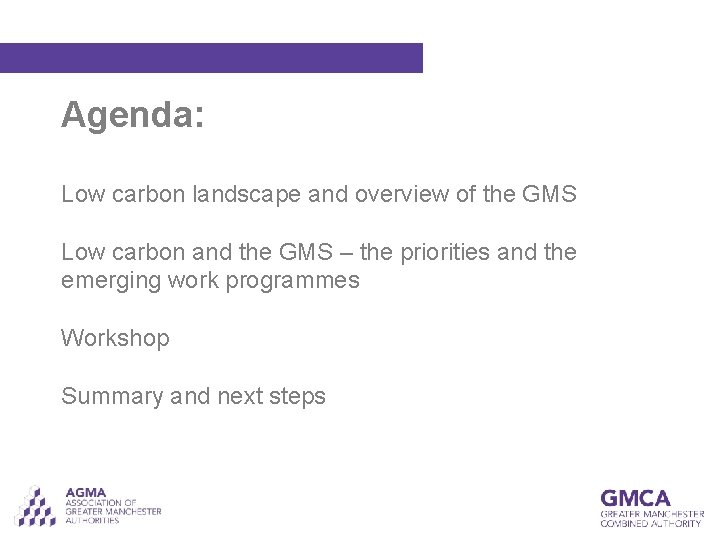 Agenda: Low carbon landscape and overview of the GMS Low carbon and the GMS