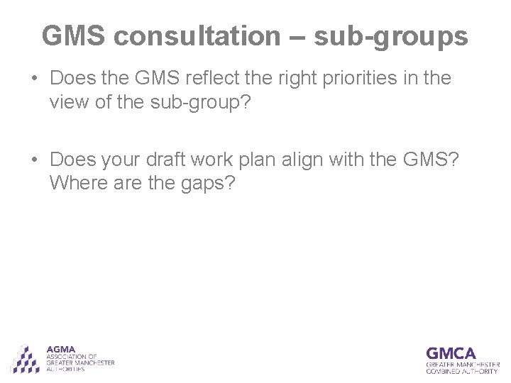 GMS consultation – sub-groups • Does the GMS reflect the right priorities in the