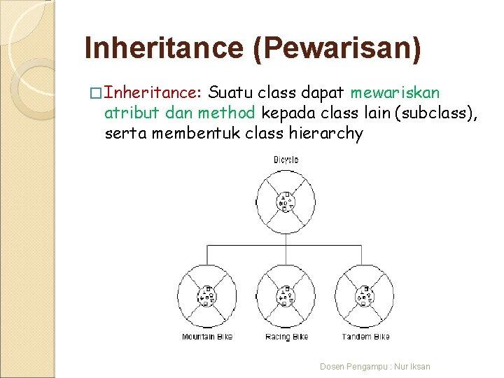 Inheritance (Pewarisan) � Inheritance: Suatu class dapat mewariskan atribut dan method kepada class lain