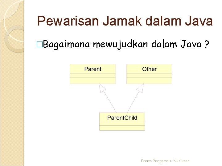 Pewarisan Jamak dalam Java �Bagaimana mewujudkan dalam Java ? Dosen Pengampu : Nur Iksan