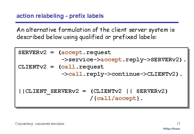 action relabeling - prefix labels An alternative formulation of the client server system is