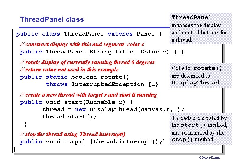 Thread. Panel class public class Thread. Panel extends Panel { Thread. Panel manages the