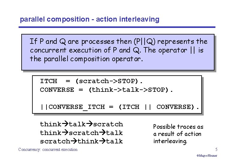 parallel composition - action interleaving If P and Q are processes then (P  Q) represents