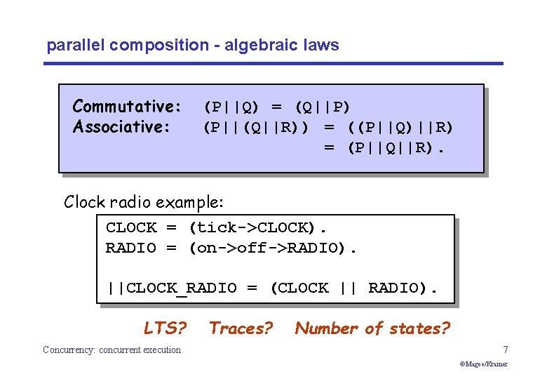 parallel composition - algebraic laws Commutative: Associative: (P  Q) = (Q  P) (P  (Q  R)) = ((P  Q)  R) =