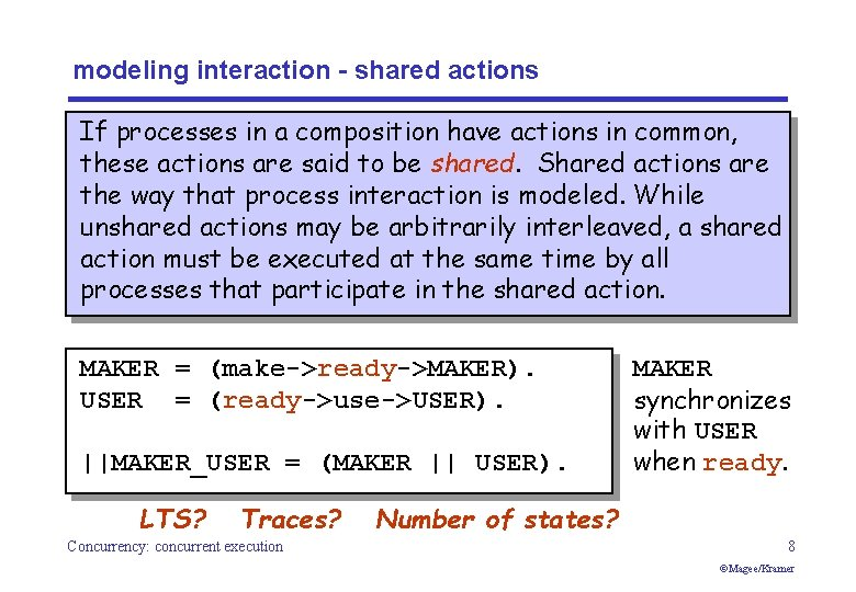 modeling interaction - shared actions If processes in a composition have actions in common,