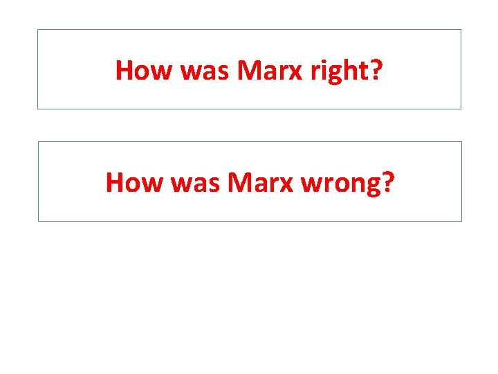 How was Marx right? How was Marx wrong?