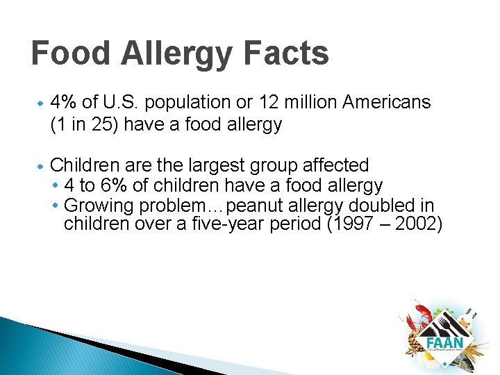 Food Allergy Facts w 4% of U. S. population or 12 million Americans (1