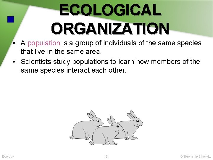 ECOLOGICAL ORGANIZATION • A population is a group of individuals of the same species