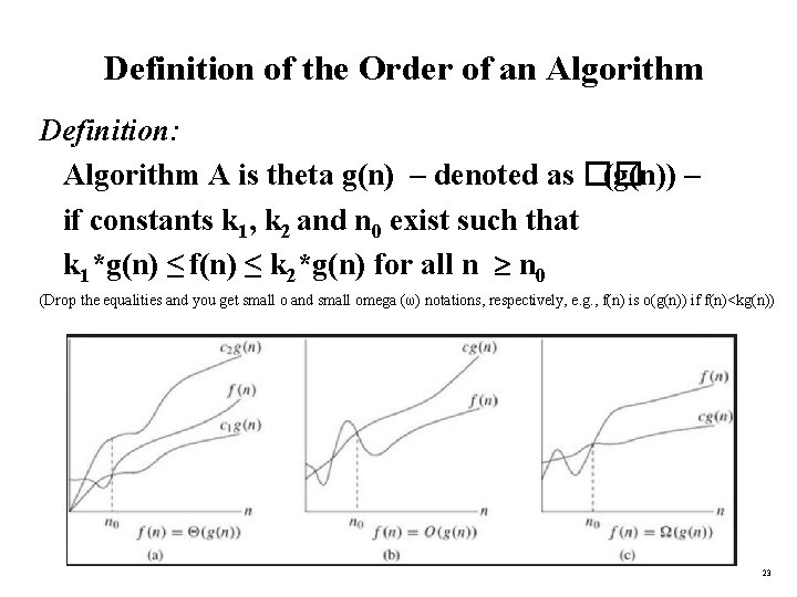 Definition of the Order of an Algorithm Definition: Algorithm A is theta g(n) –