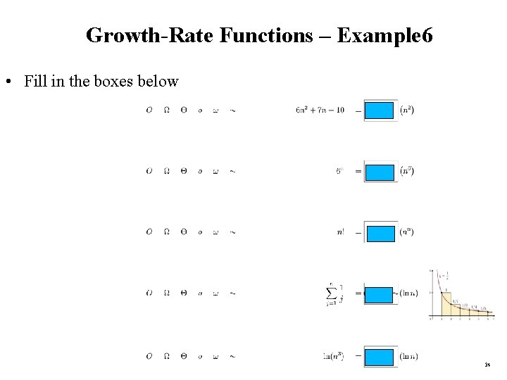 Growth-Rate Functions – Example 6 • Fill in the boxes below 34