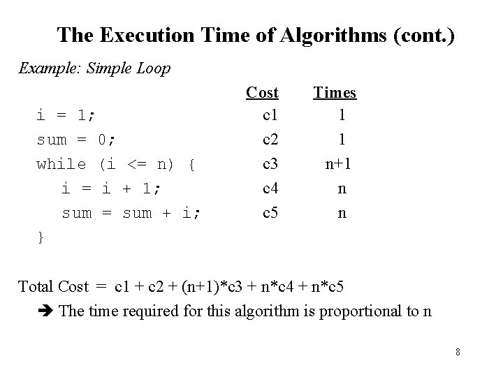 The Execution Time of Algorithms (cont. ) Example: Simple Loop i = 1; sum