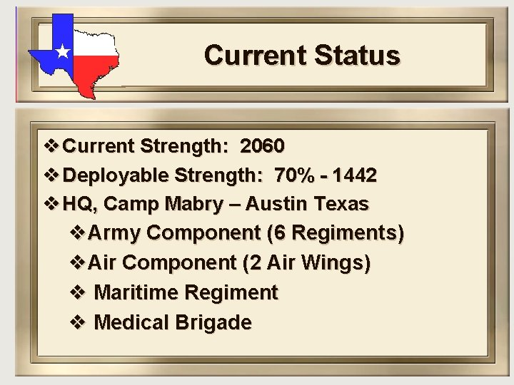 Current Status v Current Strength: 2060 v Deployable Strength: 70% - 1442 v HQ,