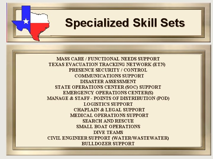 Specialized Skill Sets MASS CARE / FUNCTIONAL NEEDS SUPPORT TEXAS EVACUATION TRACKING NETWORK (ETN)