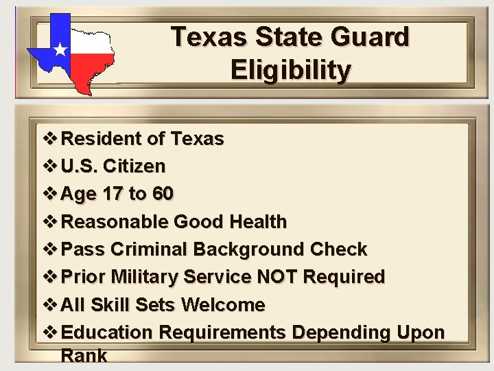 Texas State Guard Eligibility v Resident of Texas v U. S. Citizen v Age