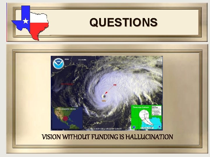 QUESTIONS VISION WITHOUT FUNDING IS HALLUCINATION