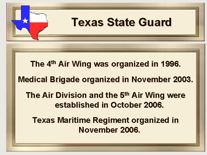 Texas State Guard The 4 th Air Wing was organized in 1996. Medical Brigade