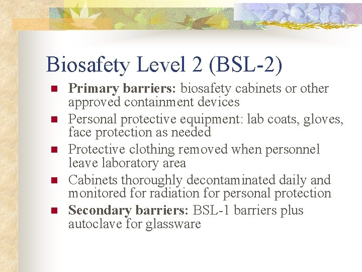 Biosafety Level 2 (BSL-2) n n n Primary barriers: biosafety cabinets or other approved