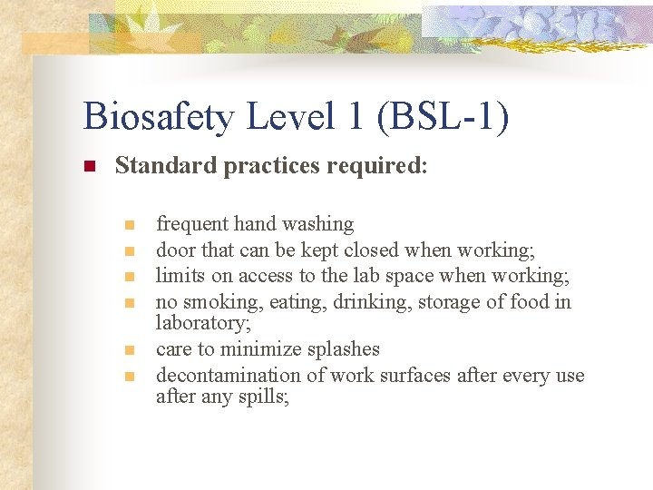 Biosafety Level 1 (BSL-1) n Standard practices required: n n n frequent hand washing