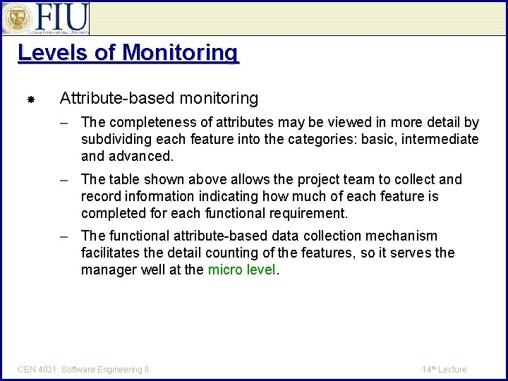 Levels of Monitoring Attribute-based monitoring – The completeness of attributes may be viewed in