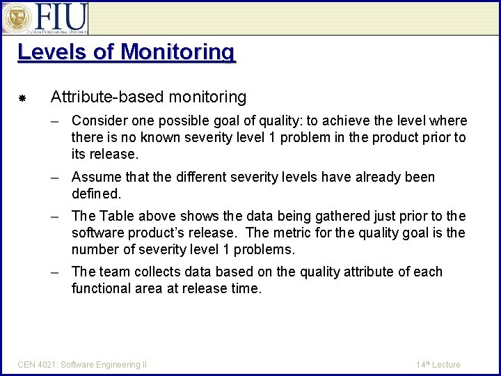 Levels of Monitoring Attribute-based monitoring – Consider one possible goal of quality: to achieve