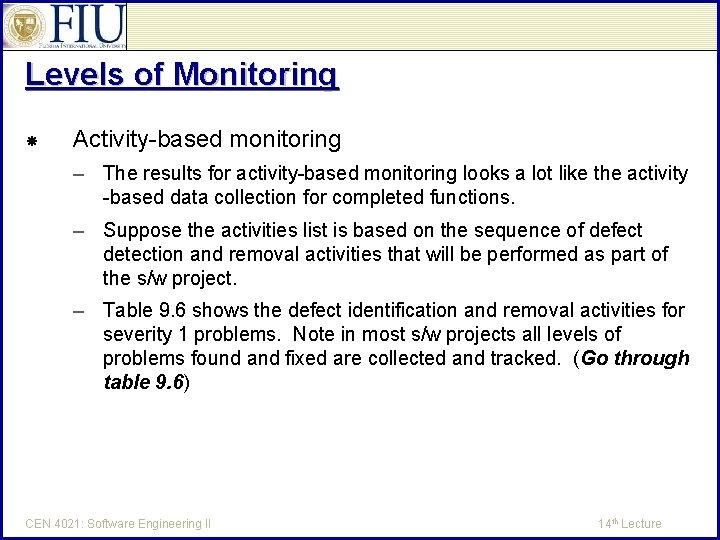 Levels of Monitoring Activity-based monitoring – The results for activity-based monitoring looks a lot