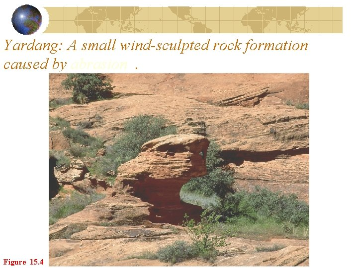 Yardang: A small wind-sculpted rock formation caused by abrasion. Figure 15. 4