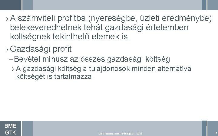 › A számviteli profitba (nyereségbe, üzleti eredménybe) belekeveredhetnek tehát gazdasági értelemben költségnek tekinthető elemek
